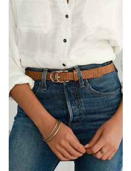 Double Down Taupe Crocodile And Gold Double Buckle Belt by Lulus