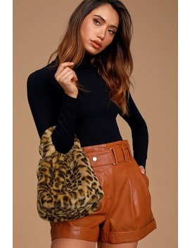 Love You Fur Ever Leopard Print Faux Fur Mini Handbag by Lulus