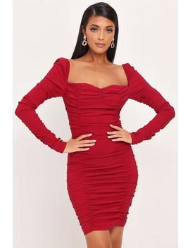 Wine Ruched Sleeve Mini Dress by I Saw It First