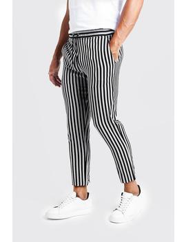 Herringbone Stripe Smart Cropped Jogger Trouser by Boohoo