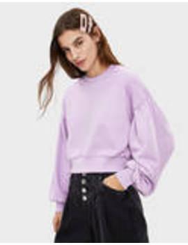 Sweatshirt With Puffed Sleeves by Bershka