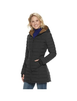 Women's Halitech Stretch Hooded Puffer With Contrast Lining by Halitech