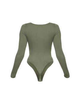 Sage Khaki Ruched Front Long Sleeve Bodysuit by Prettylittlething