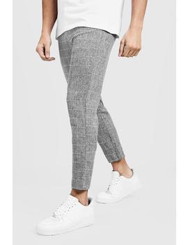 Tapered Fit Pants In Grey Windowpane Check by Boohoo