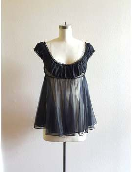 50s Black Lace Babydoll Top   S/M   34 by Etsy