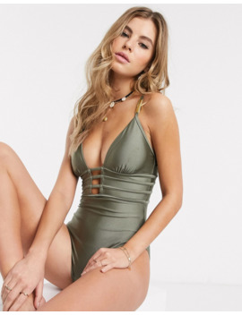 New Look Strapping Detail Swimsuit In Khaki by New Look