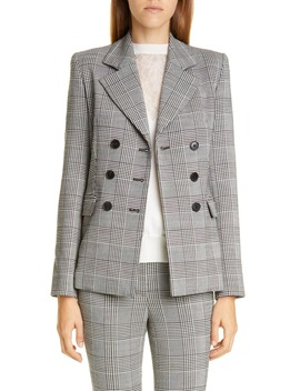 Double Breasted Plaid Wool Blazer by Adam Lippes