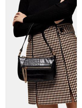 Shine Black 90's Crocodile Print Shoulder Bag by Topshop