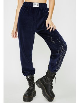 Diamonte Flame Velour Joggers by New Girl Order