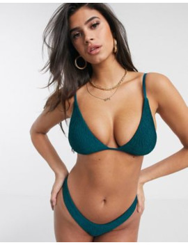 Free Society Mix And Match Crinkle Triangle Bikini Top In Teal by Free Society