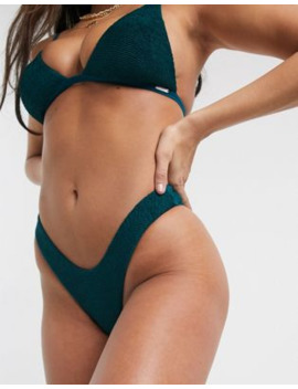 Free Society Crinkle Mix And Match High Leg Bikini Bottom In Teal by Free Society