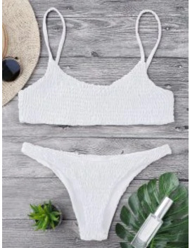 Popular Sale Smocked Bikini Top And Bottoms   White M by Zaful