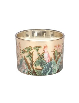 Scented Candle In Glass Holder With Green And Pink Jungle Print by Maisons Du Monde