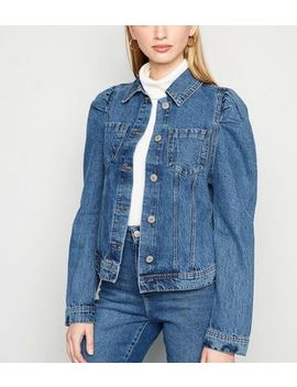 Cameo Rose Blue Denim Puff Sleeve Jacket by New Look