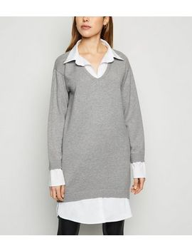 Cameo Rose Grey 2 In 1 Jumper Dress by New Look