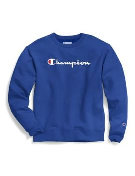 Champion Men's Powerblend® Fleece Crew, Script Logo by Champion