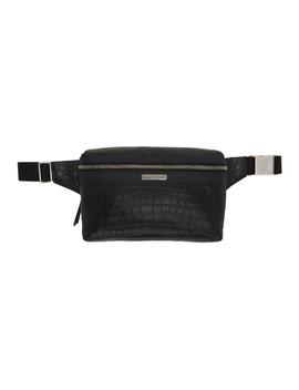 Black Croc Webbing Belt Marsupio Pouch by Saint Laurent