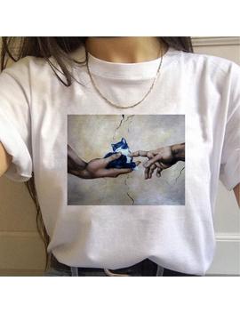 Michelangelo Cat Women T Shirt Mona Lisa Van Gogh Cute Female T Shirt Aesthetic Harajuku Tshirt Funny Ulzzang 90s Grunge Vintage by Ali Express.Com
