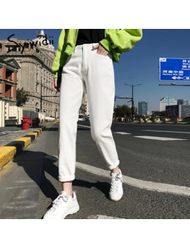 Cotton White Jeans For Women High Waist Harem Mom Jeans Spring 2019 New Plus Size Black Women Jeans Denim Pants Beige Blue by Ali Express.Com