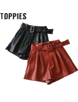 Women Black Orange Color Pu Leather High Waist With Belt Wide Leg Faux Leather Shorts High Quality Winter Loose Pu Shorts by Ali Express.Com