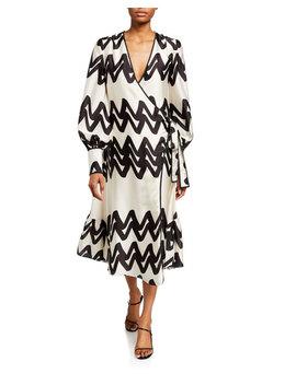 Maleko Zigzag Long Sleeve Wrap Dress by Alexis