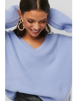 V Neck Knitted Sweater Lila by Na Kd Trend
