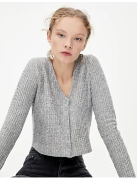 Basic Check Texture Cardigan by Pull & Bear