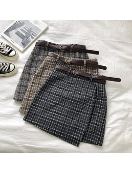Korean Irregular Lady Skirt Female Autumn Sweet High Waist A Line Mini Skirt Vintage Casual Women Plaid Skirt Chic Sashes by Ali Express.Com