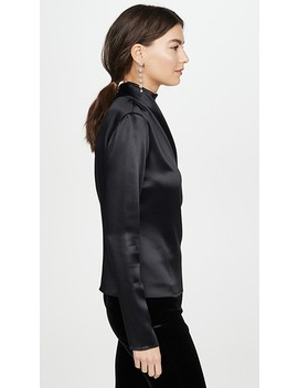 Draped Neck Satin Blouse W Sleeves by Brandon Maxwell