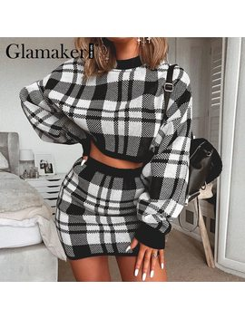 Glamaker Plaid Knitted Two Piece Suit Sexy Autumn Dress Women Elegant Winter Sweater Dress Sexy Female Fashion Party Short Dress by Ali Express.Com