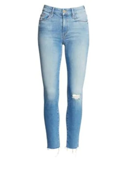 Looker Mid Rise Distressed Ankle Jeans by Mother