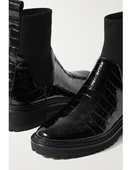 Bridget Croc Effect Patent Leather Chelsea Boots by Loeffler Randall