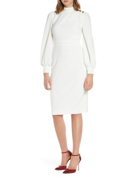 Button Shoulder Long Sleeve Dress by Eliza J