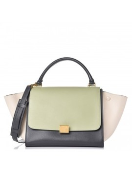Celine Smooth Calfskin Tri Color Medium Trapeze Pistachio by Celine
