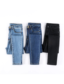 Jujuland Jeans Female Denim Pants Black Color Womens Jeans Donna Stretch Bottoms Skinny Pants For Women Trousers 8175 by Ali Express.Com