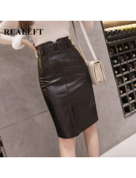 Realeft Autumn Winter Ol Elegant Pencil Midi Skirts High Waist Black Pu Leather Split Sheath Wrap Skirts With Belt Female 2019 by Ali Express.Com