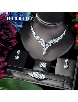 Hibride Super Luxury Leaf Leaves Full Micro Cubic Zirconia Women Wedding Dress Choker Necklace Earring Jewelry Sets 2019 N 39 by Ali Express.Com