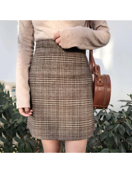 Autumn New Tartan High Waist Vintage Large Size Slim Skirt Female Korean Empire A Line England Style Knee Length Casual Skirt by Ali Express.Com