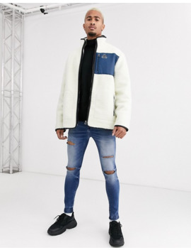Topman Borg Jacket In Off White by Topman