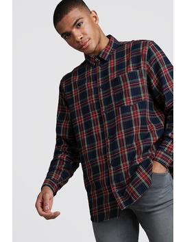 Brushed Tartan Longline Shirt by Boohoo