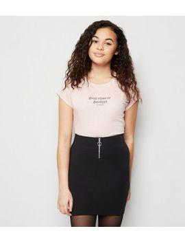 Girls Black Ring Zip Tube Skirt by New Look