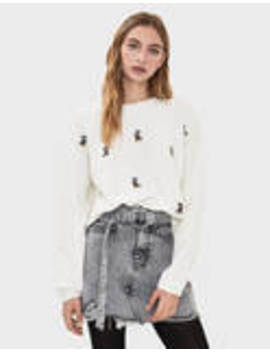 Embroidered Mickey Mouse Sweater by Bershka