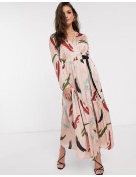 Asos Design   Robe Longue Cache Cœur à Imprimé Contemporain by Asos Design