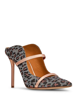 Leopard Print Leather Strap Mules by Malone Souliers