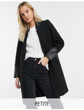 River Island Petite Collarless Coat In Black by River Island