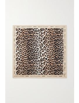 Leopard Print Silk Scarf by Ganni