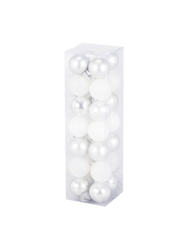 Pack Of 28 Silver And White Baubles by The Range