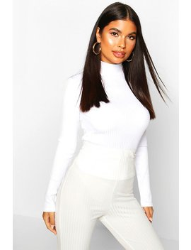 Petite Turtle Neck Jumbo Rib Top by Boohoo