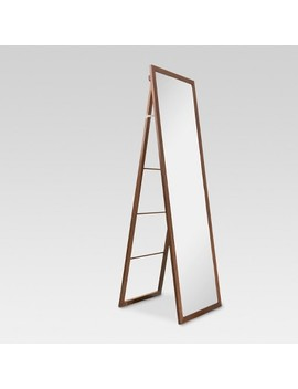 Wood Ladder Standing Floor Mirror Walnut   Threshold™ by Shop This Collection