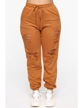 Casual Lover Distressed Jogger   Cognac by Fashion Nova